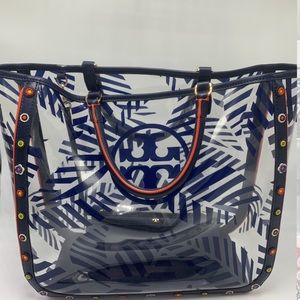 Tory Burch Marguerite Printed Clear/ Navy Tote